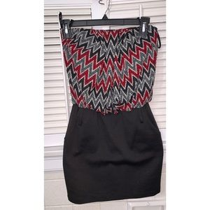 Papaya Red and Grey Chevron Strapless Dress
